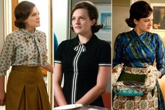 Season A great reminder that Peggy's fashion is typically all over the place—masculine-leaning and on-trend at work (usually), but dreadfully old-fashioned holding that casserole. She's just got more on her mind than fashion, O. Mad Men Peggy, 1960s Party, Betty Draper, Mad Men Fashion, Vanity Fair, Evolution, Hollywood, Costumes, Mens Tops