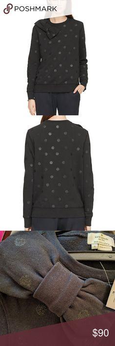 Kate spade Bow Sweatshirt Black sweatshirt with glitter polka dots. So cute! Looks great on skinny jeans and flats! Never worn - NWT. kate spade Sweaters