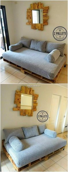 This is a simple and yet a magnificent creation of wood pallet that does gives you the chance to change your old wooden pallets into ideal creation of mirror and couch designing. This is hence a giant structure of couch design whose additional feature of mirror on the wall into it has made it extra effective.