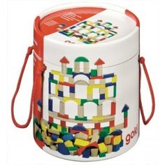 Goki Bucket of Wooden Blocks - Toys and Games Ireland Wooden Blocks Toys, Wooden Building Blocks, Wooden Toys, Toddler Shows, Baby Farm Animals, German Toys, Wooden Buildings, Wooden Train, Best Kids Toys