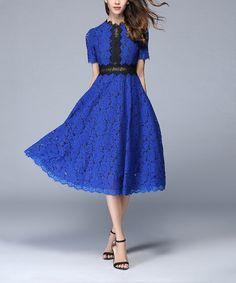 Take a look at this Coeur de Vague Blue & Black Floral Lace A-Line Dress today!