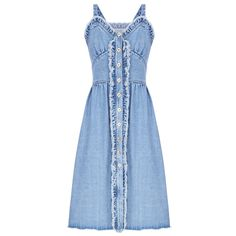 Flow The Label Denim Ruffled Tank Dress (700 AUD) ❤ liked on Polyvore featuring dresses, blue, blue button down dress, button down dress, button down denim dress, denim button up dress and button up dress