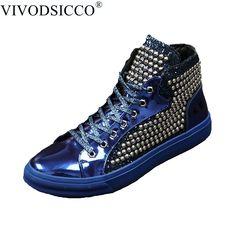 1e1fe06861 VIVODSICCO Luxury British Style Men Ankle Boots Patent Leather Motorcycle  Cowboy Boots Men sequins Rivets Boots Dress Shoes