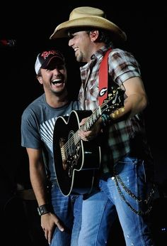 Jason Aldean With Luke Bryan In Concert.