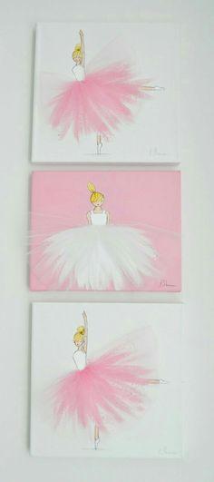 ballerina nursery art kids room ballerina art pink art set of 3 ballerina canvases Kids Crafts Ballerina Kunst, Ballerina Nursery, Rose Nursery, Girl Nursery, Nursery Decor, Nursery Artwork, Room Decor, Baby Decor, Art For Kids