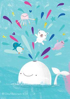 Whale blowing air by Gigi