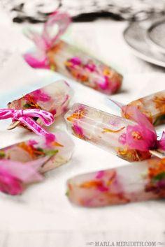 Spring Flower Popsicles Recipe: Edible Flower Pops-Bridal, Baby Shower on FamilyFreshCooking.com — Family Fresh Cooking