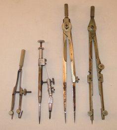 4 Antique /Vintage Navigation Drawing Compass Charvos (?) Sailing Navy Compasses