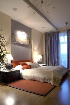 Beautiful modern bedroom, Pumpkin and Grey-Lavender