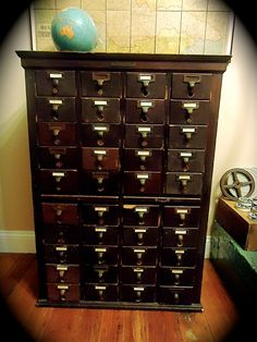 Antique Library Card Catalog File LOVE THIS for inventory at work!!