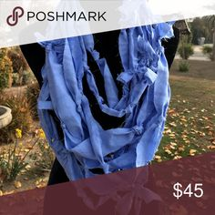 Handmade rag knotted infinity scarf Opera length Beautiful periwinkle blue NA Accessories Scarves & Wraps