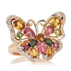 """Victoria Wieck 3.80ct Tourmaline """"Butterfly"""" Ring"""