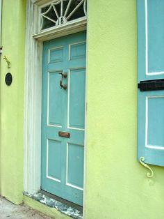 green walls blue door