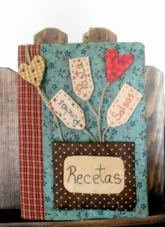Quilting and cooking by Clara Ojeda Notebook Covers, Journal Covers, Homemade Crafts, Diy And Crafts, Fabric Crafts, Sewing Crafts, Recipe Book Covers, Fabric Book Covers, Diary Covers