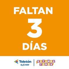 Estamos a 3 días de la Teletón 2016!   Nuestra meta es desafiante pero sabemos que si #EstamosTodos los paraguayos la vamos a alcanzar!  El 4 y 5 Unite a la Teletón!!