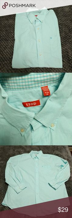 Izod mens aqua button down shirt Color: aqua Description: this long sleeve button down can be dressed up or worn casually. Buttons on the sleeves and sleeves can be folded up. Very nice pre-loved condition, see photo for material  ❤️ always open to offers/questions! Discount for bundles of 2+ items❤️ Izod Shirts Dress Shirts