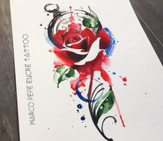 Red rose and Pocket Watch painting by Marco Pepe