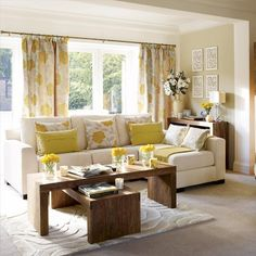 Spring fresh living room. Don't love the coffee tables, but I love everything else!