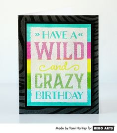 Bright color + zebra + sparkle = perfect birthday card for a girl!  #HeroArts