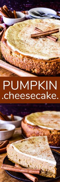 Two favorites join forces in one delicious dessert! This Pumpkin Cheesecake combines all the flavors of pumpkin pie with all the creaminess of cheesecake in a decadent dessert that's perfect for fall!