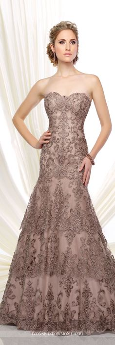 Formal Evening Gowns by Mon Cheri - Fall 2016 - Style No. 216D53 - strapless lace and tulle fit and flare evening dress in mink