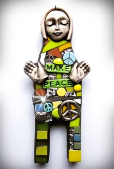 MAKE PEACE!  mixed media mosaic stained glass polymer clay contemporary art doll assemblage art modern art folk art outsider art peace warrior