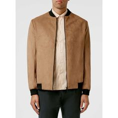 TOPMAN Tan Faux Suede Bomber Jacket (2.620 CZK) ❤ liked on Polyvore featuring men's fashion, men's clothing, men's outerwear, men's jackets, brown, mens brown jacket, mens bomber jacket, mens tan leather jacket and mens brown leather bomber jacket