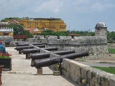 Cannons along the Cartagena waterfront. #travel #photos #colombia