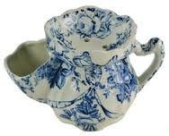 blue and white china shaving mug