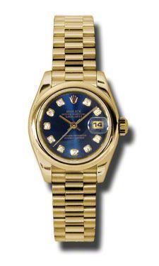 Rolex Datejust Blue Dial Automatic Yellow Gold Ladies Watch. Even better in real life, the colors are amazing on this women's rolex model.  $18441.00  #LadiesRolex