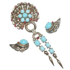 Trifari Sterling Turquoise Cabochon Rhinestone Dangle Pin Brooch Earrings Set 1940's