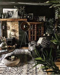 Boho Living Room, Living Room Decor, Bohemian Living, Dark Walls Living Room, Gothic Living Rooms, Dark Bohemian, Living Room Interior, Living Spaces, Dining Room