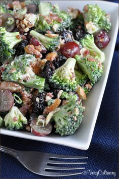 Classic broccoli salad with almonds, grapes, dried cherries, and bacon.