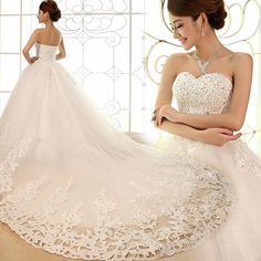 2013 luxury rhinestone princess bandage wedding dress white train ...