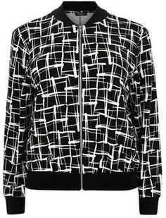 Curves Black Abstract Print Bomber Jacket