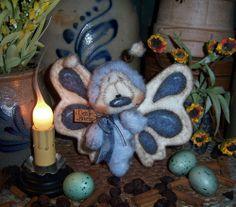 "Primitive Spring Butterfly Fuzzy Bug 5"" Doll Vtg Patti's Ratties Bee Bear Ornie"