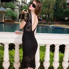 452e15a95f Charming Lace Short Sleeve Hollow Back Bodydon Dress