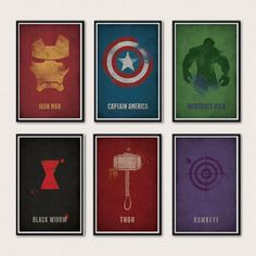 Full Marvel Avengers Poster Series - Iron Man, Captain America, Thor, Hulk, Black Widow, Hawkeye