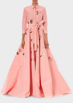 Floral Embroidered Shirt Gown by Carolina Herrera at Neiman Marcus Dressing Gown Pattern, Marchesa Gowns, Milan Fashion Weeks, London Fashion, A Line Gown, Gowns With Sleeves, Floral Maxi Dress, Latest Fashion Clothes, Modest Fashion