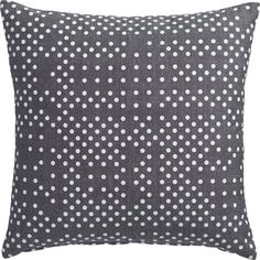 "<span class=""copyHeader"">hits the spot.</span> Playfully random pattern dots up a modern attitude in comfy grey chambray. Polka front flips to solid chambray back. Do the math: CB2 low prices include a pillow insert in your choice of plush feather or lofty down-alternative (a rare thing indeed).<br /><br /><NEWTAG/><ul><li>100% cotton</li><li>Front: printed polka dot pattern</li><li>Back: solid color</li><li>Down-alternative insert: 100% polyester fill (made in China)</li><li>Feather…"