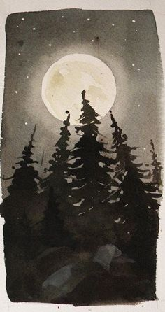 Original Watercolor Landscape - Moonlight Treeline