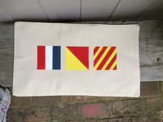 Custom Nautical Flag Pillow Covers by DesignsbyTaraRing on Etsy Nautical Flags, Paper Shopping Bag, Cotton Canvas, Initials, Pillow Covers, Hand Painted, Lettering, Pillows, Color