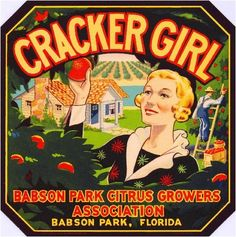 Babson Park Florida Cracker Girl #2 Orange Crate Label Art Print