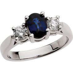 Platinum 3-Stone Sapphire & Diamond Ring