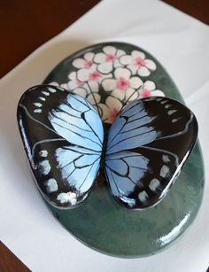 Hand Painted Stone - Butterfly on flower: