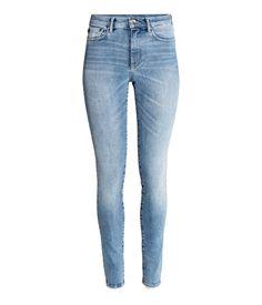 Skinny Regular Jeans   Denimblå/Vasket   Dame   H&M NO