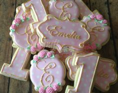 Pretty Girly Pink and Gold First Birthday Cookies