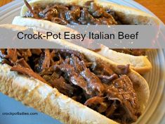 Crock-Pot Easy Italian Beef {via CrockPotLadies.com} - This easy recipe makes for a delicious Italian beef sandwiches that are packed with flavor!