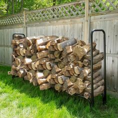 8 Foot Firewood Log Rack with Cover by Pure Garden, Black - Modern Outdoor Firewood Rack, Firewood Logs, Firewood Storage, Steel Storage Rack, Patio Blocks, Log Holder, Fireplace Tool Set, Outdoor Cover, Log Furniture