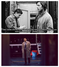 Dean and his expert praying skills. BTW--- dean Sam Cas te Angela and demons d sup. the Winchester gang and men of supernatural ALL have their respectful boards now. Thanks~~~~~~Heather S. :)